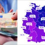 Die Auflistung der einzelnen Bundesländer mit der jeweiligen Prozentzahl zeigt, wie unterschiedlich das Lohnniveau bei uns in Deutschland ist